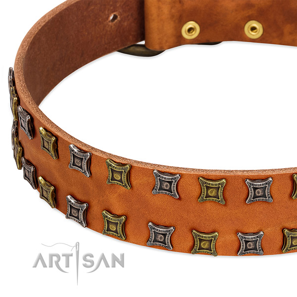 Soft to touch full grain natural leather dog collar for your impressive canine