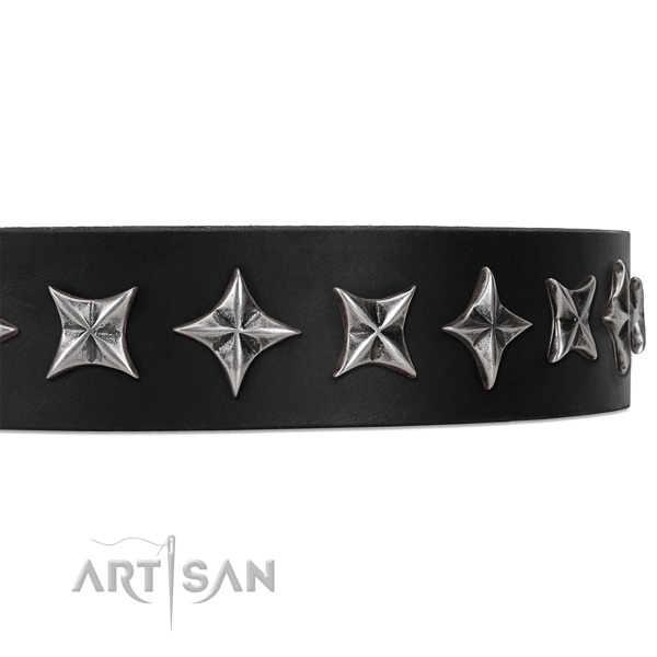 Comfortable wearing embellished dog collar of finest quality full grain genuine leather