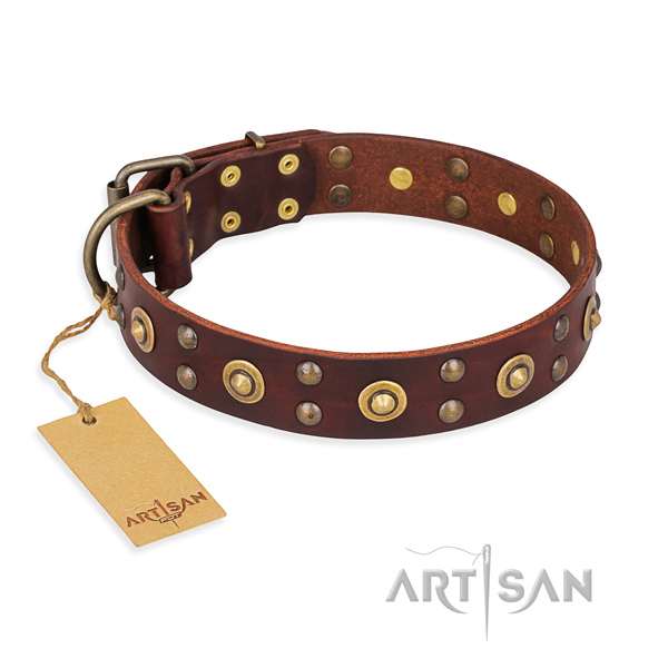 Adjustable full grain genuine leather dog collar with rust-proof traditional buckle