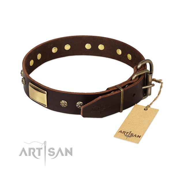 Top notch genuine leather collar for your dog