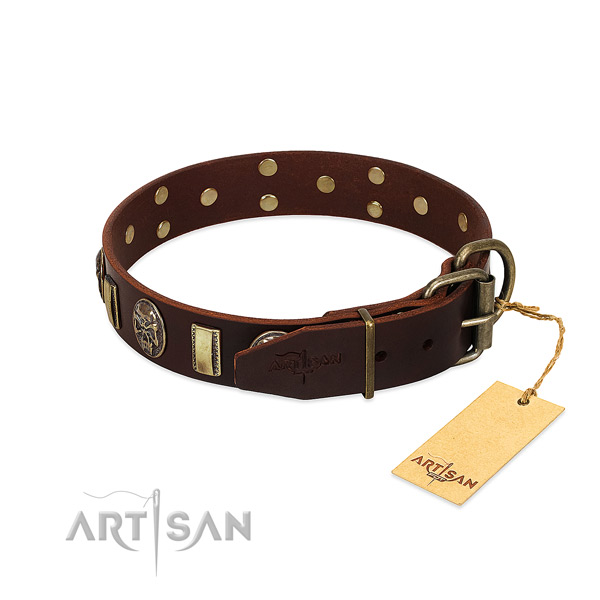 Full grain natural leather dog collar with rust-proof hardware and adornments