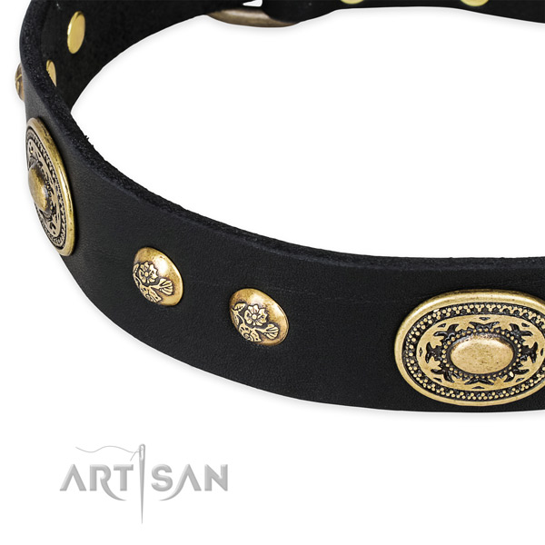 Decorated genuine leather collar for your attractive pet