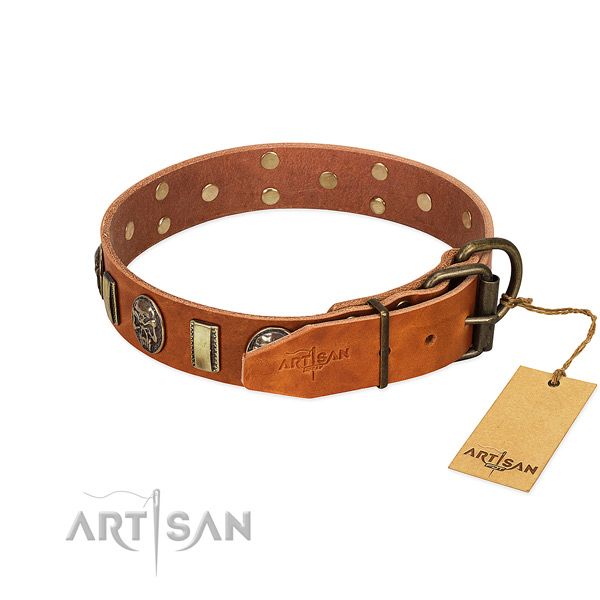 Full grain genuine leather dog collar with reliable traditional buckle and decorations