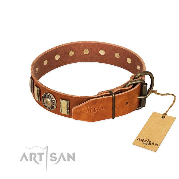 Easy adjustable leather dog collar with strong hardware