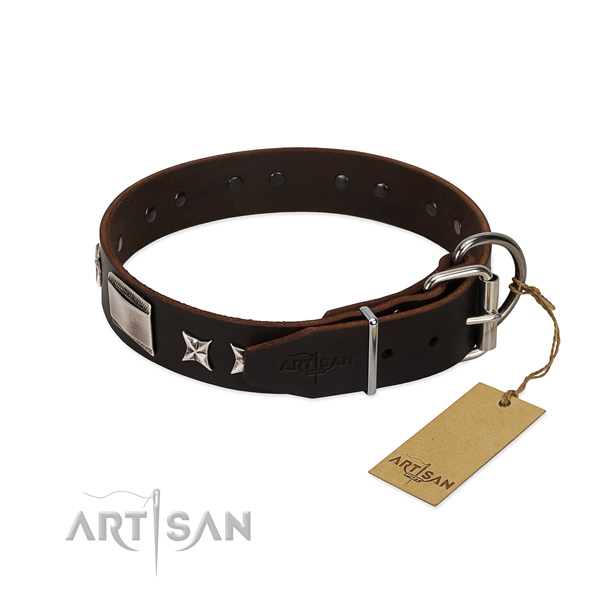 Handmade collar of natural leather for your beautiful dog
