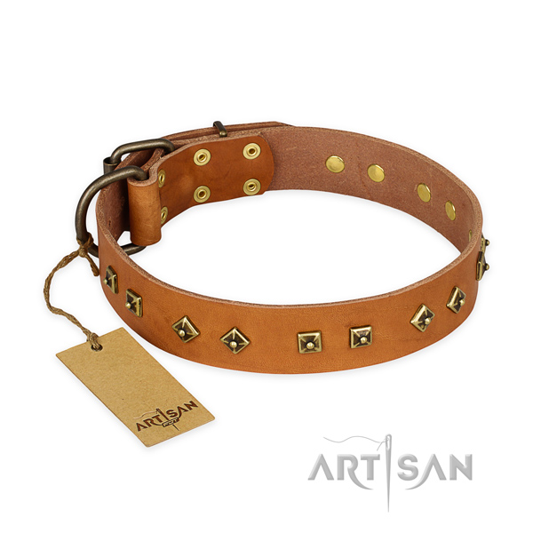 Inimitable genuine leather dog collar with corrosion proof traditional buckle