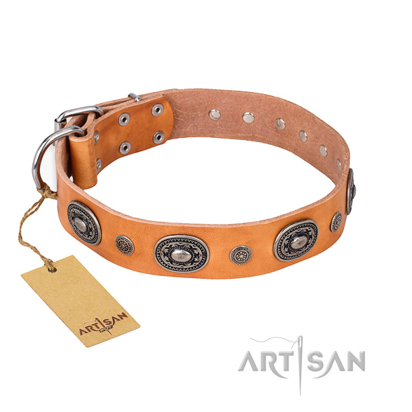 High quality full grain genuine leather collar handcrafted for your pet
