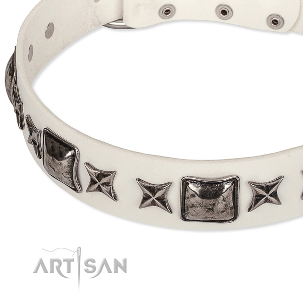 Easy wearing studded dog collar of top quality full grain genuine leather