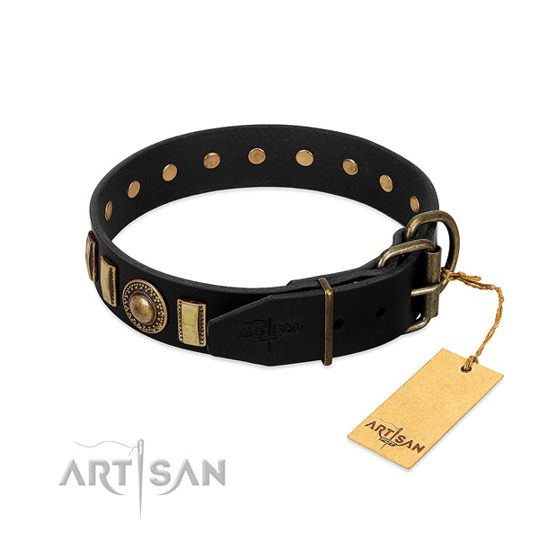 Soft to touch natural leather dog collar with decorations