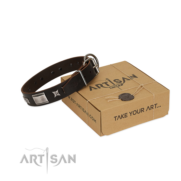 Stunning collar of full grain genuine leather for your impressive pet