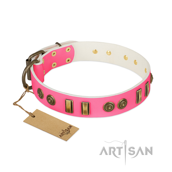 Decorated genuine leather collar for your dog