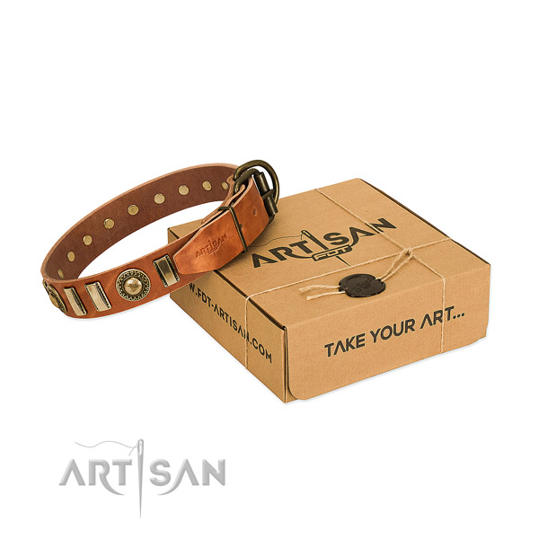 Gentle to touch full grain natural leather dog collar with rust-proof D-ring