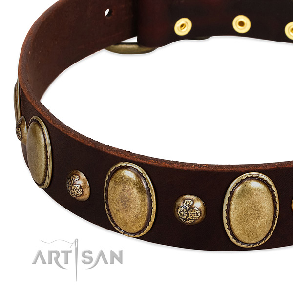 Full grain genuine leather dog collar with fashionable decorations