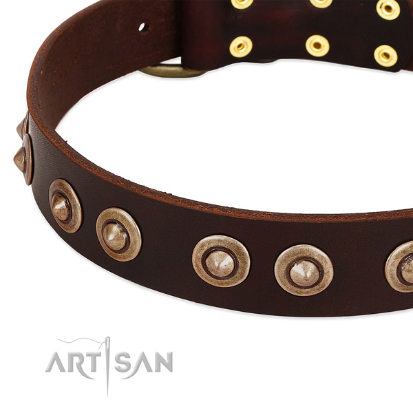 Durable fittings on genuine leather dog collar for your four-legged friend
