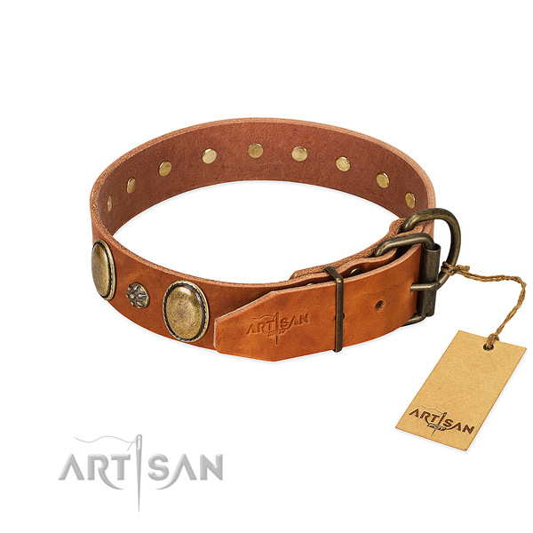 Everyday use high quality genuine leather dog collar