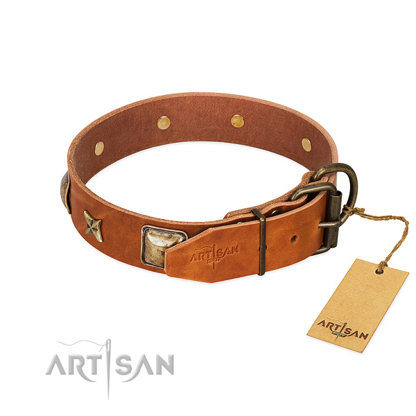 Leather dog collar with corrosion resistant buckle and embellishments