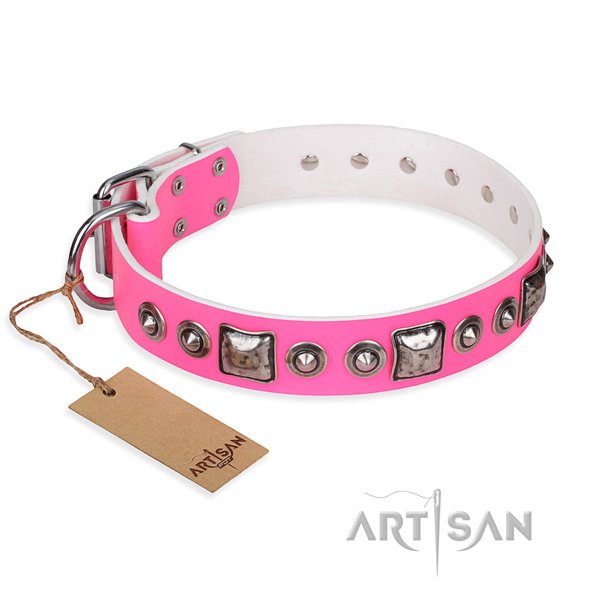 Full grain natural leather dog collar made of quality material with rust-proof traditional buckle