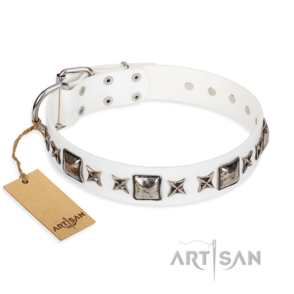 Full grain natural leather dog collar made of soft material with strong D-ring