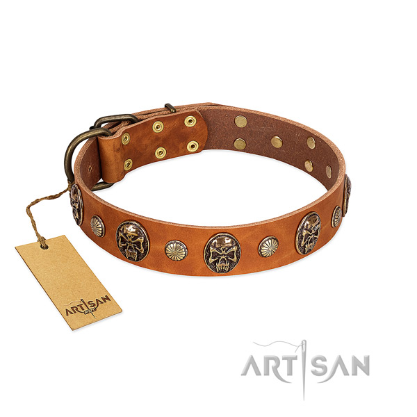 Adjustable genuine leather dog collar for easy wearing