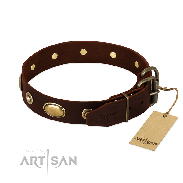 Rust resistant buckle on full grain genuine leather dog collar for your canine