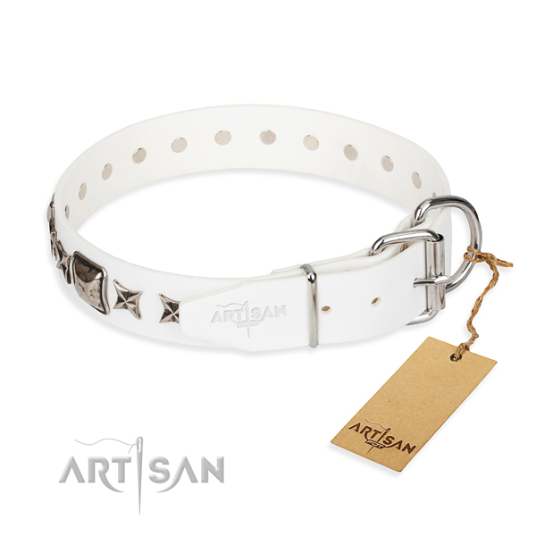 Strong studded dog collar of full grain genuine leather