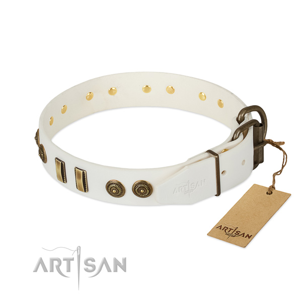 Rust resistant hardware on full grain natural leather dog collar for your canine