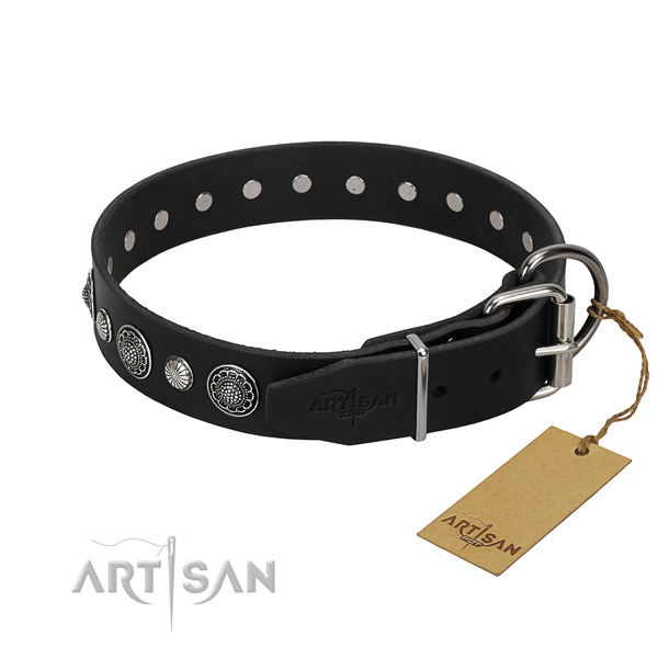 Strong full grain genuine leather dog collar with stylish design adornments