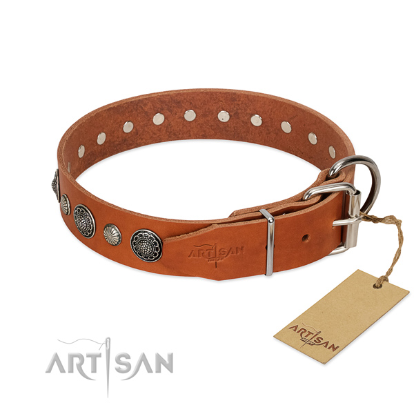 Strong full grain leather dog collar with corrosion proof fittings