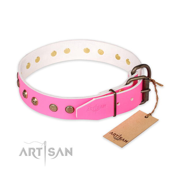 Corrosion proof traditional buckle on natural genuine leather collar for your impressive four-legged friend