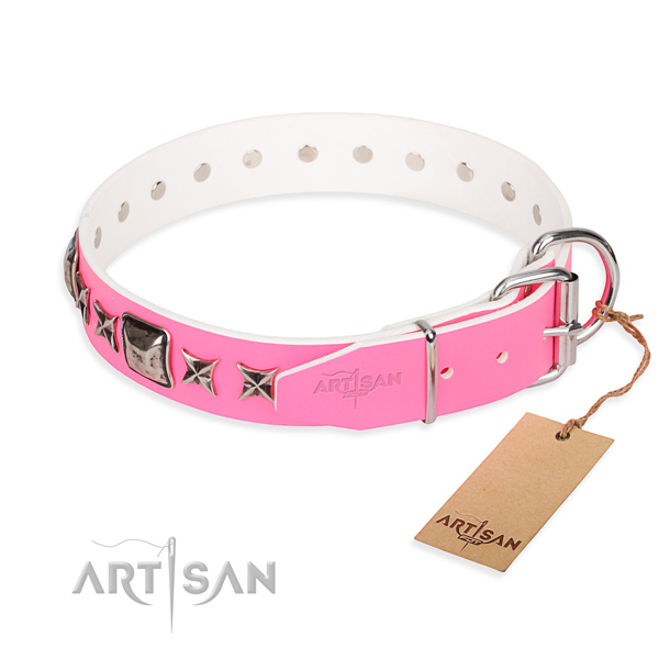 Durable embellished dog collar of genuine leather