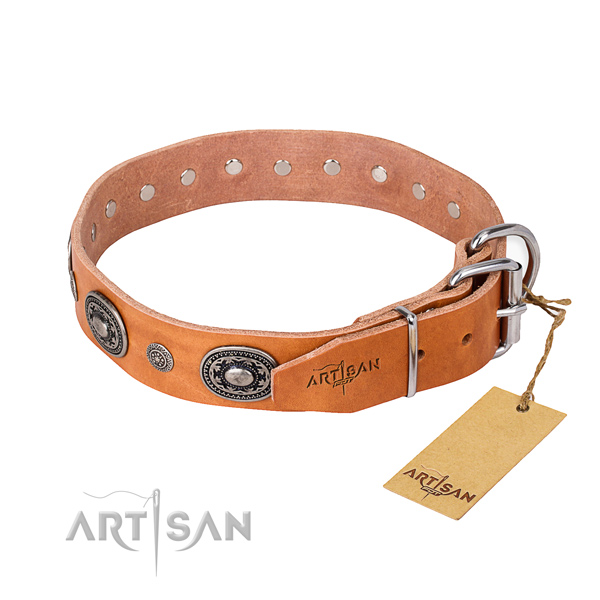Soft full grain genuine leather dog collar handmade for everyday use