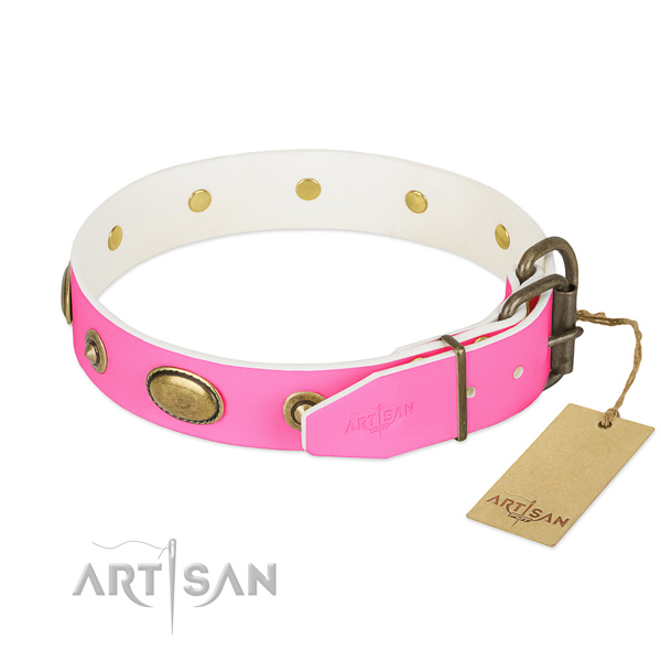Durable hardware on genuine leather dog collar for your pet