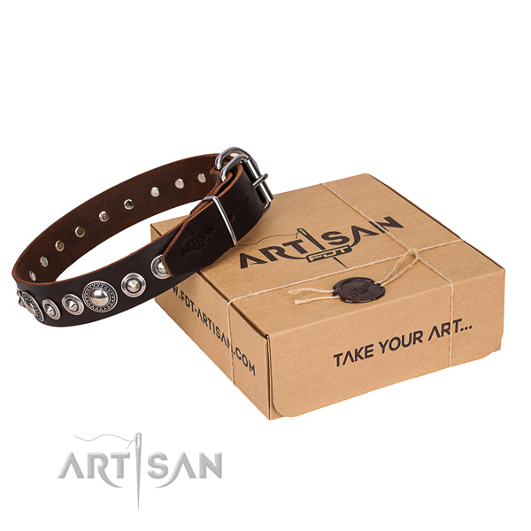 Full grain leather dog collar made of soft to touch material with corrosion proof D-ring