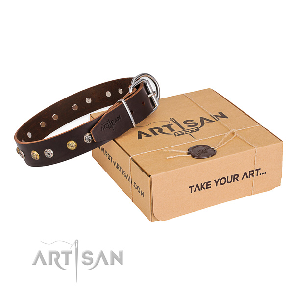 Top rate full grain genuine leather dog collar created for stylish walking