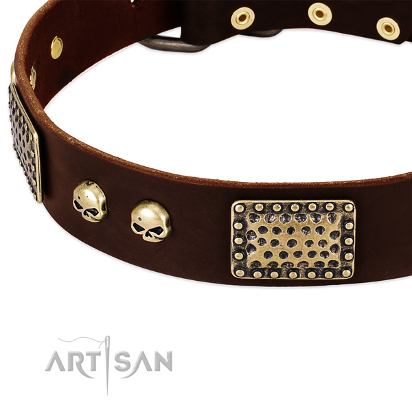 Durable decorations on full grain genuine leather dog collar for your dog