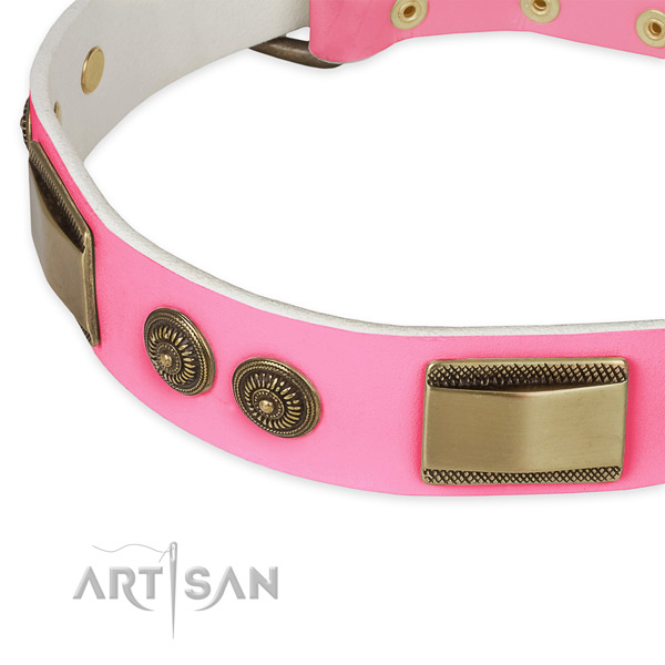 Natural genuine leather dog collar with embellishments for comfy wearing