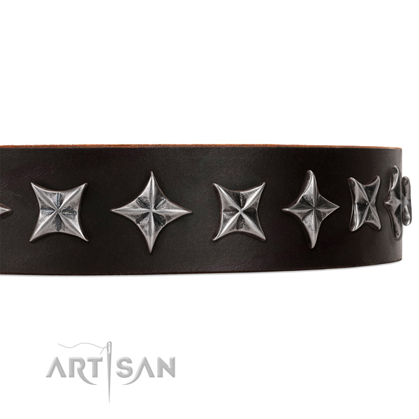 Handy use studded dog collar of strong full grain genuine leather