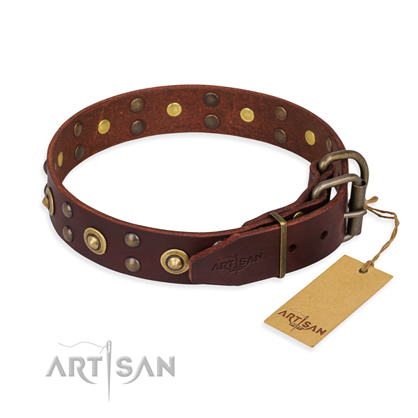 Rust-proof fittings on leather collar for your lovely dog
