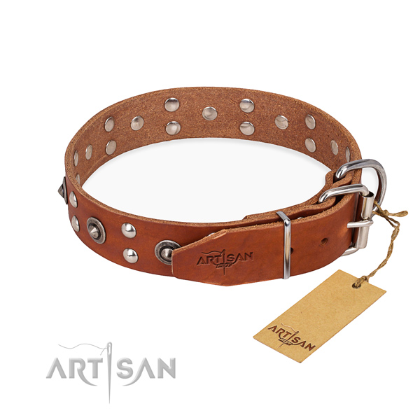 Durable traditional buckle on genuine leather collar for your impressive four-legged friend