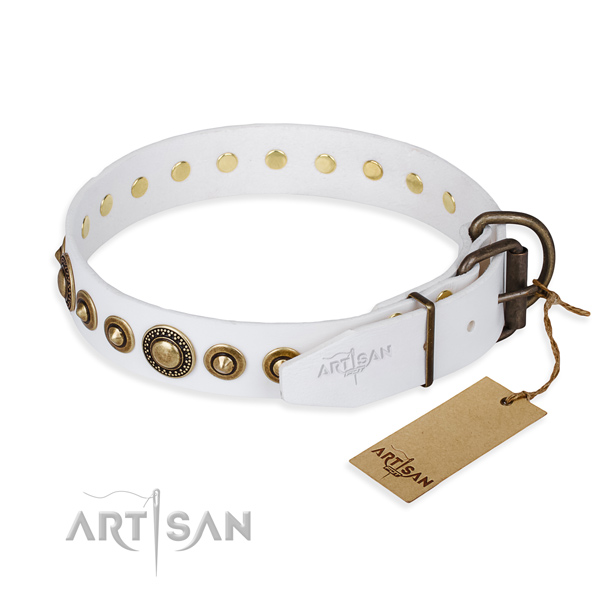 Soft to touch full grain natural leather dog collar made for easy wearing