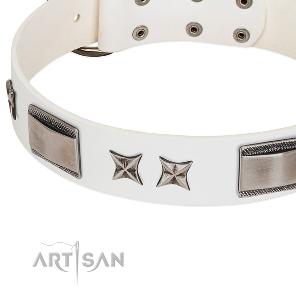 Quality full grain genuine leather dog collar with rust resistant buckle