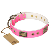 """Frenzy Candy"" FDT Artisan Decorated Pink Leather Bullmastiff Collar"