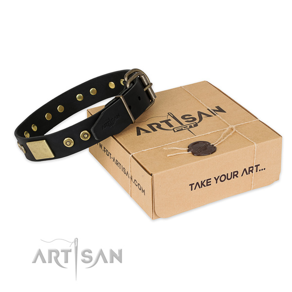Reliable fittings on full grain genuine leather dog collar for fancy walking
