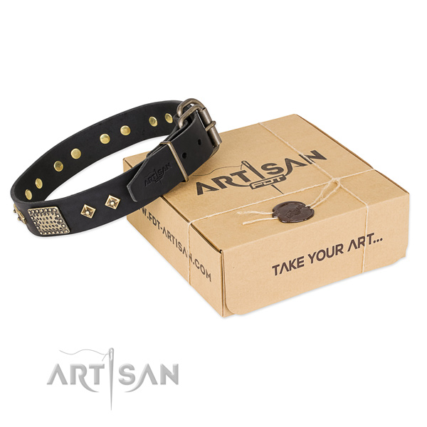 Easy wearing genuine leather collar for your beautiful pet