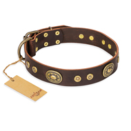 """One-of-a-Kind"" FDT Artisan Handmade Decorated Brown Leather Bullmastiff Collar"