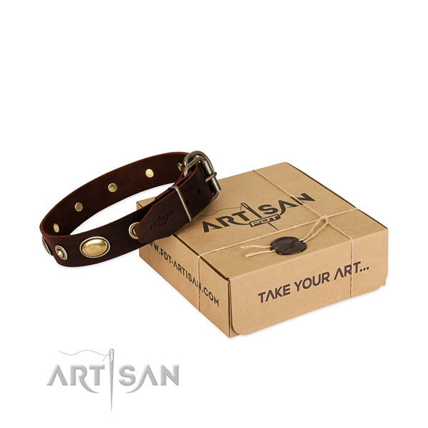 Corrosion resistant fittings on full grain natural leather dog collar for your pet