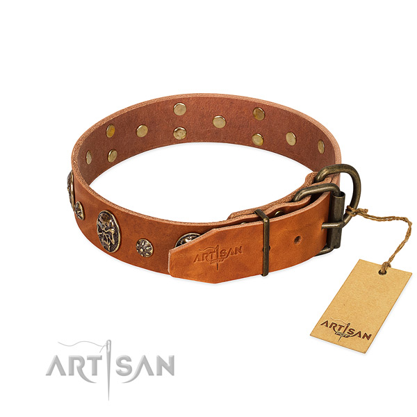 Reliable buckle on full grain natural leather dog collar for your pet