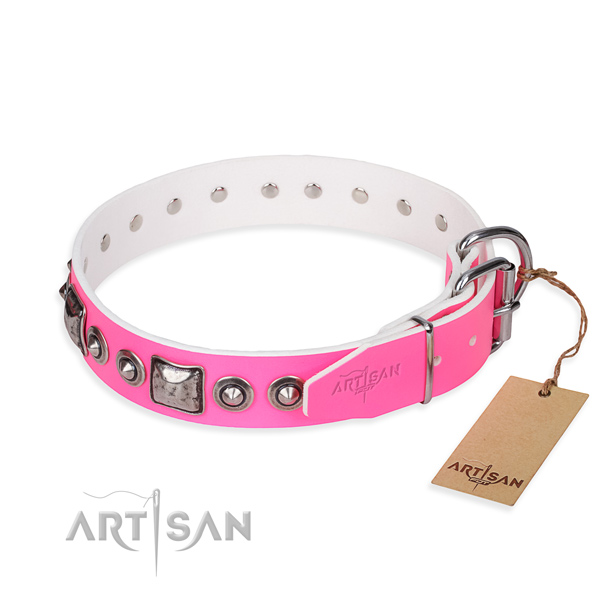 Soft to touch natural genuine leather dog collar handcrafted for comfortable wearing