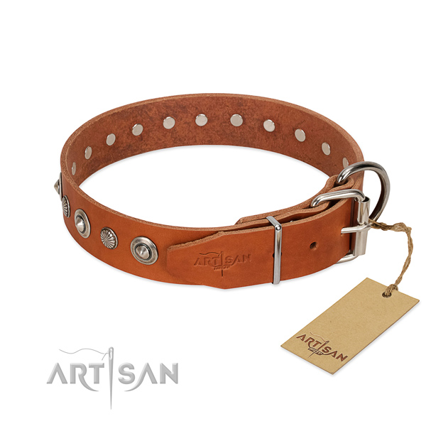 Strong full grain natural leather dog collar with stylish design adornments
