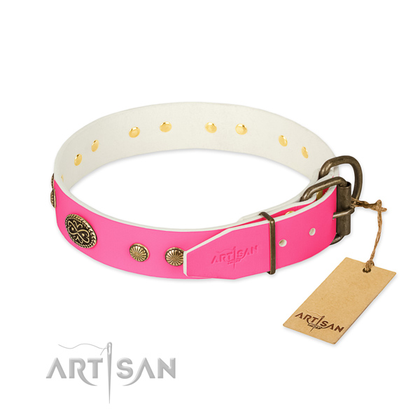 Rust-proof buckle on full grain genuine leather dog collar for your doggie